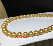 Aaaaa 1813-15mm Real Natural Round South Sea Golden Pearl Necklace 14k Gold