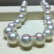 Aaa+1713-15mm Round Real Natural South Sea White Pearl Necklace 14k Gold