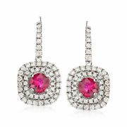 Vintage Ruby And Diamond Drop Earrings In 18kt White Gold