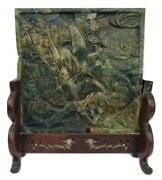 Antique Chinese Nicely Carved Spinach Jade Table Screen Wood Base