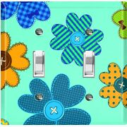 Metal Light Switch Cover Wall Plate Flower Button Teal