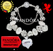 Authentic Pandora Bracelet Silver Crystal Heart Wife Love With European Charms