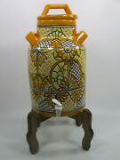 Milk Can Water Crock, Talavera Mexican Pottery, Water Dispenser, Glazed Paint