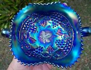 Antique Northwood Grape And Cable Electric Blue Carnival Glass Bon Bon Card Tray