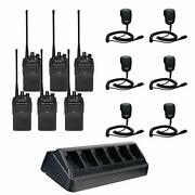 6 Vx-261 403-470 Mhz 5 Watt 16 Ch. Two-way Radio 6 Mh-450s With 6 Radio Charger