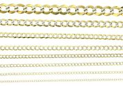New Real 14k Solid Yellow Gold White Pave Curb Link Cuban Chain Necklace 16-24