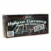 50 Large Bcw Deluxe Pvc Currency Sleeve Bill Holders Paper Money Semi Rigid