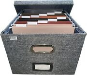 File Box Storage Organizer With File Folders - Letter Sized Brackets For Office