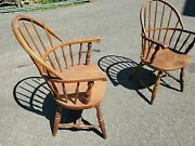 2 Sack Back Windsor Oak Chair Antique Vintage - Need Repair Delivery Available