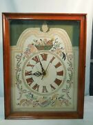 Antique Embroidered Cross Stitch Telechron Electric Clock Wood And Glass Case 1930