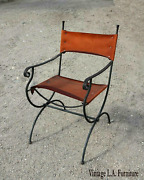 Vintage Spanish Style Charleston Forge Style Rustic Leather Accent Chair