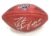Peyton Manning Signed Nfl 100 On Field Football W/nfl 100 Team Insc Colts Bronco