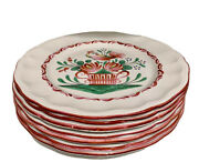 """St. Clement France Faience 10"""" Dinner Plates Set Of 7 Rooster Hand Painted 1965"""