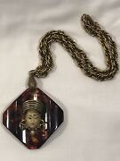 1950s Tortoise Shell Bakelite Pendant With Goddess With Chain Necklace