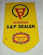 Vintage Old Raleigh Cycle Spares And Parts Dealers Porcelain Enamel Sign Double