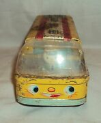 Vintage Friction Powered Toy Master School Bus Tin Toy Japan