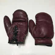 Vintage Antique Childrens Youth Red Leather Boxing Gloves Laces Display Decor