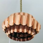 Thorsten Orrling Hanging Lamps. Matched Pair. Bent Copper Plate. Unrivalled And03960s