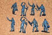 Marx Usa Space Cadets 1950and039s Original Dark Blue Plastic Toy Figures 70mm 14-06