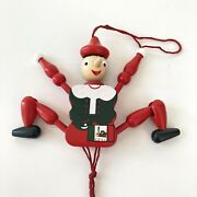 Pinocchio Wood Pull String Puppet Hand Painted Siena Italy Marionette Man Red