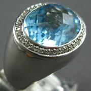 Large 12.08ct Diamond And Aaa Blue Topaz 14kt White Gold Oval And Round Summer Ring