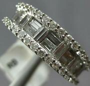 Wide 1.52ct Diamond 18kt White Gold Round And Baguette Invisible Anniversary Ring