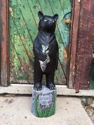 John Gallagher 4 Foot Carved Wooden Black Bear Statue Fish