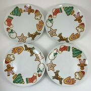 Set Of 4 Time To Celebrate Dept. 56 Christmas Cookie Plates