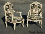 Pair Vintage French Louis Xvi Floral Tapestry Ornate Accent Chairs White Crackle