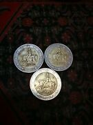 Bundle Of 3x2 Rare Euro Coins With An And039and039sand039and039 On The Bottom Star