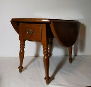 Vintage Early American Temple Stuart Maple Wood Round Drop Leaf Butterfly Table
