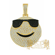 14k Yellow Gold On Real Silver Happy Face Emoji Custom Pendant + Free Chain