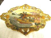 Antique Chinese Asian Japanese Porcelain Platter Gold Hand-painted 18 X 13