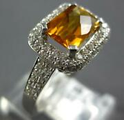 2.06ct Diamond And Aaa Citrine 14kt White Gold 3d Cushion And Round Square Fun Ring