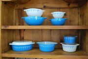 Pyrex Snowflake Garland 11pc Collection - Cinderella Bowls And Casseroles