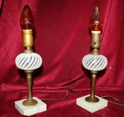 Pair Of Vintage Glass And Brass Small Table Lamps With Marble Bases