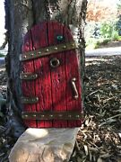 Large Fairy Garden Gnome Door 14 Inches Tall Red Tree Yard Decor New