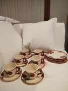 Franciscan Apple 6 Cups Saucers And Salad Plates