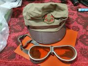 Wow Lot Hat And Goggles Belong To The Same Military Policeman Motorcycle Idf