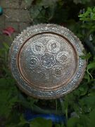 Antique Middle Eastern Silver Washed Copper Tray Charger Bird Foliage Islamic