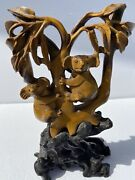 Rare Vintage Carved Tiger's Eye Koala Bear Couple Sculpture Statue Wood Stand