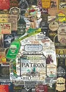 Art Collage Poster Tequila Patron Print Made Out Of Liquor Labels Size 20 X 28
