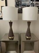 Spectacular Pair Of Mid Century Modern Porcelain Lamps By Gerald Thurston