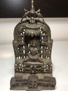 Genuine Antique C18th Indian Jain Bronze Figure With Silver And Copper Inlays