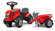 Falk Massey Ferguson Ride-on And Push-along Tractor With Trailer And Tools +1...