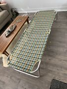 Vtg Plaid Mcm Webbing Aluminum Lightweight Cot, 2 Avail, Sold Seperately
