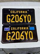 Pair Of California Black License Plates For Classic And Collector Cars