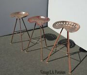 Set Of Three French Country Farmhouse Tractor Seat Iron Bar Stools