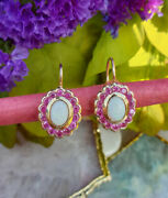 Gorgeous Victorian Inspired 14ct Yellow Gold Ruby And Opal Flower Drop Earrings