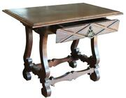 Antique English French Renaissance Baroque Wood Hall Foyer Side Lamp Table Desk